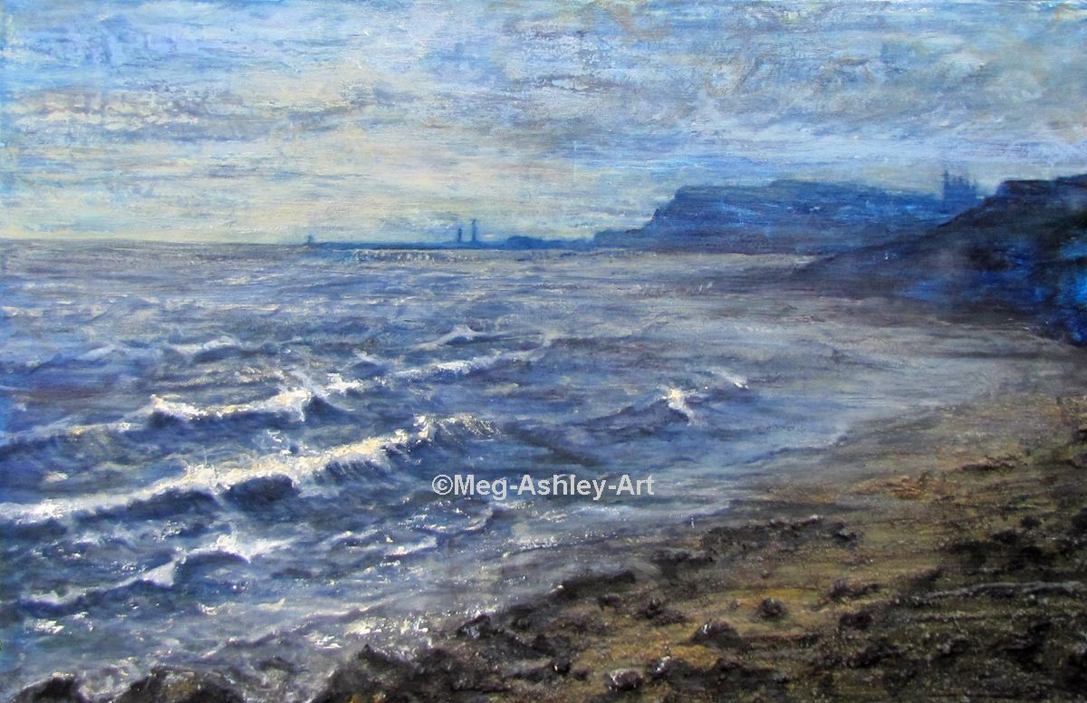 Stormy Sea at Sandsend by Meg Ashley